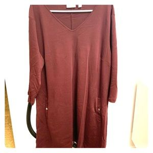 3/4 Sleeve Shift Dress, Burgundy XXL